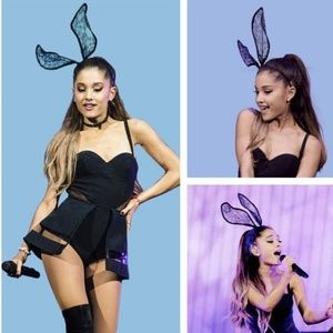 Black Lace Buddy Ears Ariana Grande Costume Play